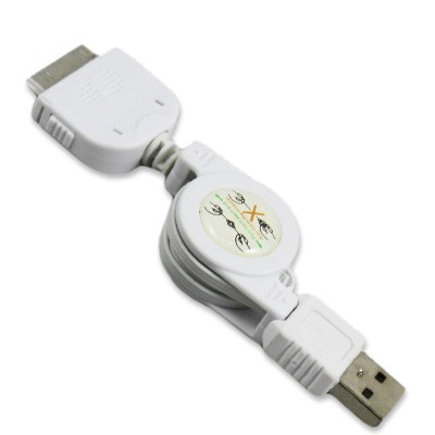 Retractable USB Apple charge cable (White)