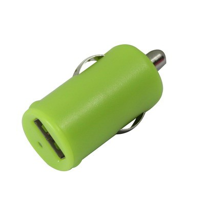 Green USB car charger (High power) 1000mA
