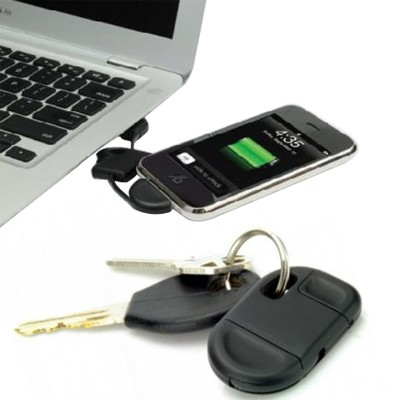 USB Apple charge cable keyring (Black)