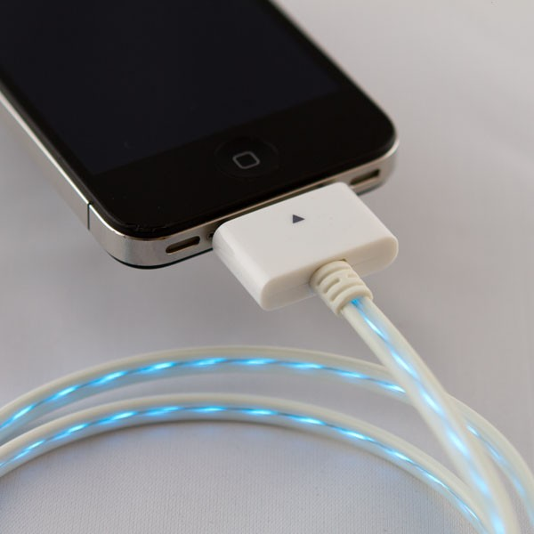 Blue Illuminated LED white iphone charge cable