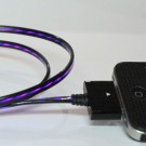 Purple Illuminated LED black iPhone charge cable