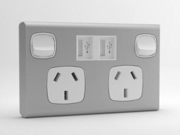 Classic sockITz White/Aluminium USB powerpoint