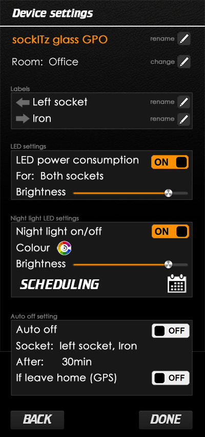 Glass sockitz device settings page