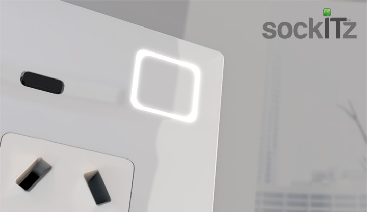 close up of the sockITz new glass touch powerpoint/socket